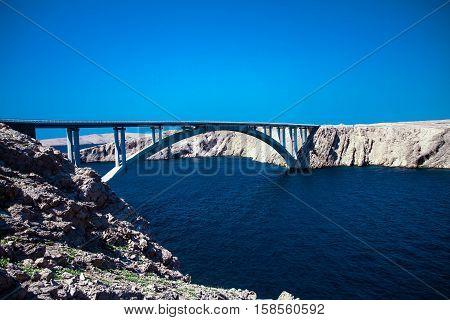 Brücke, Pag, Insel, Meer, Adria, Karg, felsen,