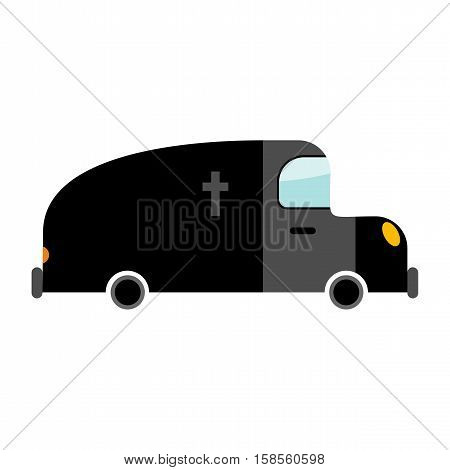 Hearse Funeral Car Isolated. Transport On White Background. Auto In Cartoon Style