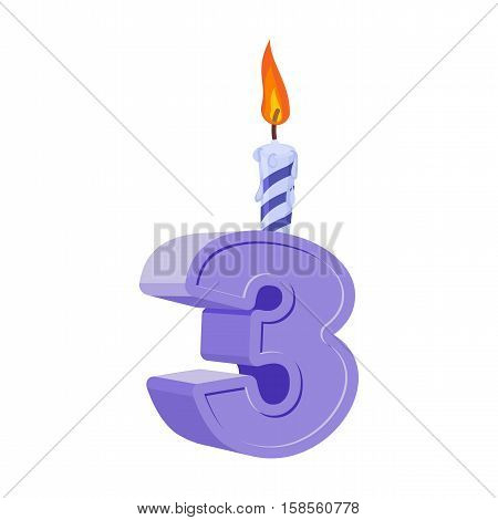 3 Years Birthday. Number With Festive Candle For Holiday Cake. Three Anniversary