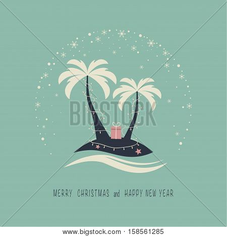The cover design. Depicts two palm trees, ocean, garland of candles, gift box on the beach , starfish. The phrase merry christmas and happy new year.