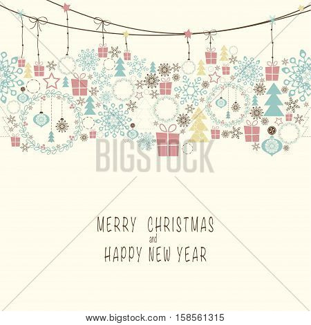 Cover design. At the top of the card contains the Christmas decorations and symbols of Christmas and new year. At the bottom of the postcard the phrase merry christmas and happy new year.