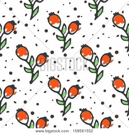 Berry tea seamless pattern. Briar organic herbal hot drinks pakage design. Hand sketched herbs and flowers illustration collecton. Vector floral design.