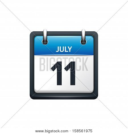 July 11. Calendar icon.Vector illustration, flat style.Month and date.Sunday, Monday, Tuesday, Wednesday, Thursday, Friday, Saturday.Week, weekend, red letter day. 2017, 2018 year.Holidays.