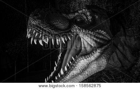 Tyrannosaurus rex, strong jaw full of sharp and dangerous teeth. dinosaurs