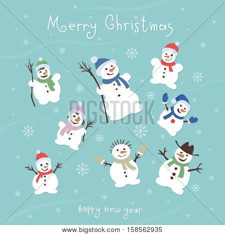 Cute and funny snowmen. Template Christmas cards. vector illustrations