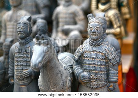 XI'AN, CHINA - NOVEMBER 19, 2016 The Terracotta Army souvenir in XIAN, CHINA