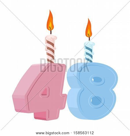 48 Years Birthday. Number With Festive Candle For Holiday Cake. Forty Eight Anniversary