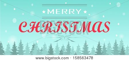 Light blue Shristmas background with fir-trees and sample text