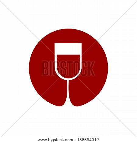 Wine Glass Logo. Sommelier Emblem. Abstract Red Drink Alcohol