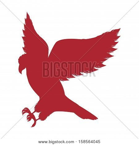 red silhouette eagle hunting icon vector illustration