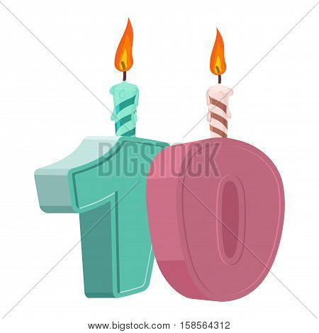 10 Years Birthday. Number With Festive Candle For Holiday Cake. Ten Anniversary