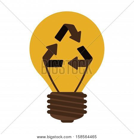 silhouette electric bulb with recyled sign vector illustration