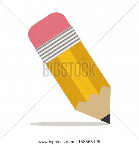 pencil with eraser icon with shadow vector illustration