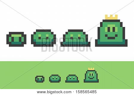 Evolution of pixel slimes from small to king slime. Vector set, collection of game characters.