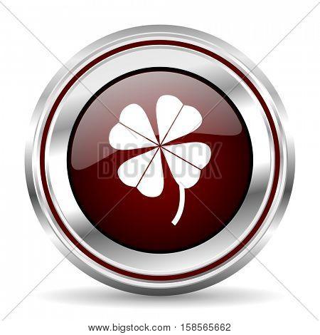 four-leaf clover icon chrome border round web button silver metallic pushbutton
