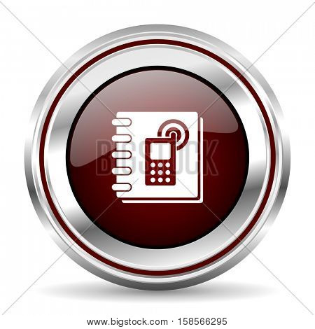 phonebook icon chrome border round web button silver metallic pushbutton