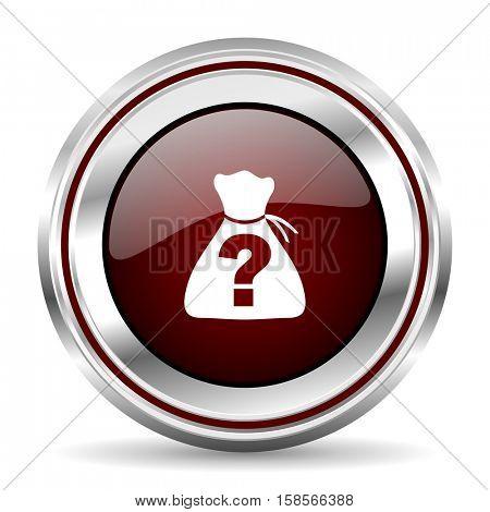 riddle icon chrome border round web button silver metallic pushbutton