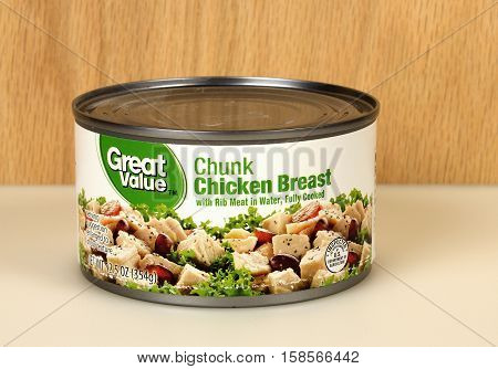 RIVER FALLS,WISCONSIN-NOVEMBER 26,2016: A can of Great Value brand chunk chicken breast in water.