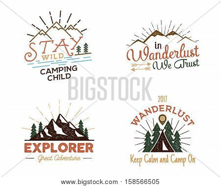 Set of outdoors activity badges. Retro illustration of outdoor activity labels. Typography and roughen style. Vector outdoors activity logo with letterpress effect. Custom quotes. Inspirational text.