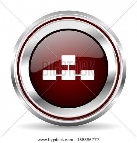 database icon chrome border round web button silver metallic pushbutton