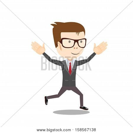 A business man runs to success. Stock vector illustration