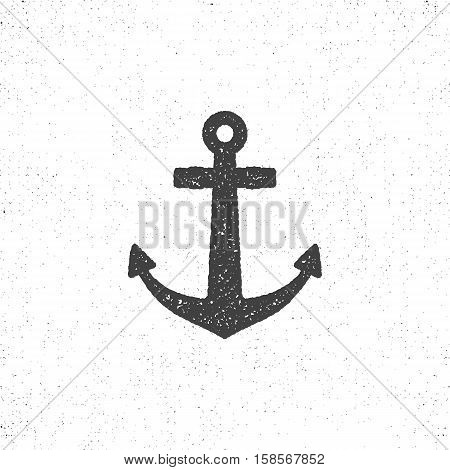 Retro anchor icon. Stock vector of anchor icon isolated. Roughen anchor icon design. Letterpress style for t shirt, tee designs.