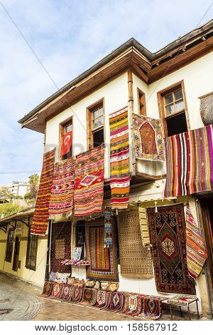 Eastern town street shopping for carpets and souvenirs.