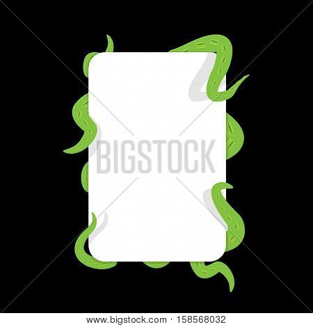 Tentacle And Banner. Green Monster Hugging White Sheet. Cthulhu Giant Octopus