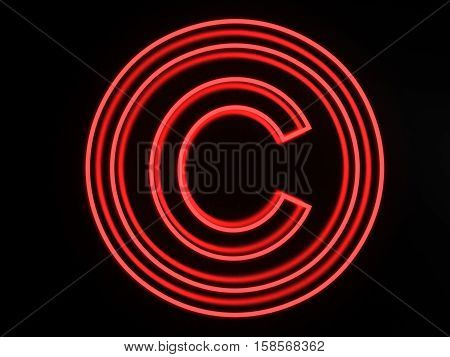 3d render illustration neon copyright icon isolated on black background