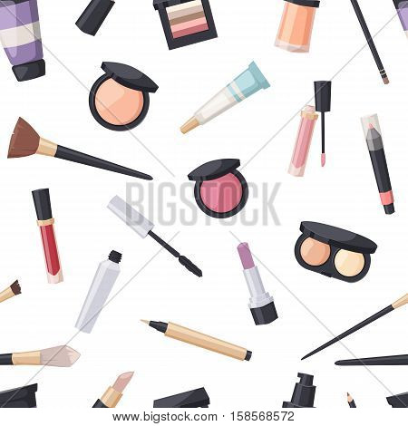 Makeup icons perfume seamless pattern mascara care brushes and makeup comb faced eyeshadow. Makeup glamour accessory. Vector set make up brushes and beauty fashion cosmetic icon.