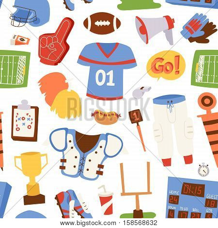 Seamless pattern brown american football balls an symbols on white background vector. American football pattern competition vector background. American football pattern design game team equipment.