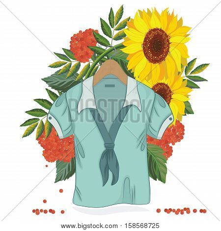 Vector illustration of a blouse on an autumn background with leaves sunflowers and rowanberries