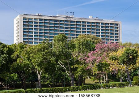Lisbon, Portugal - October 19, 2016: The Four Seasons Hotel Ritz. A five star hotel located next to the famous Eduardo VII Park.