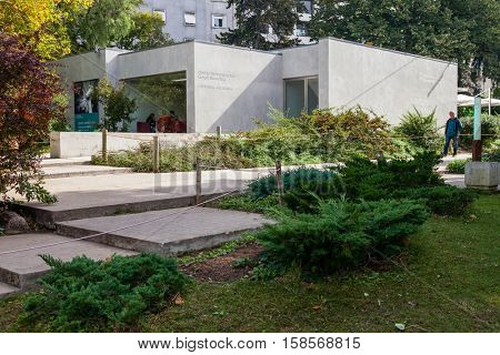 Lisbon, Portugal - October 19, 2016: Goncalo Ribeiro Teles Interpretative Centre and Cafeteria in the Calouste Gulbenkian garden.