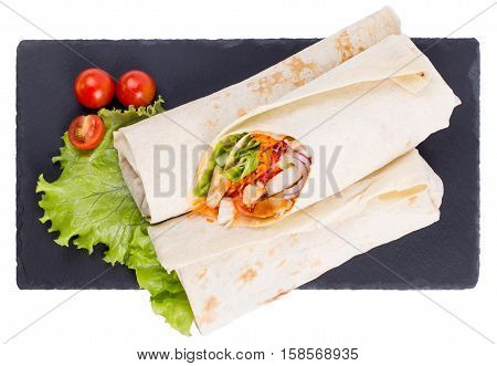Shawarma with meat are isolated on a white background