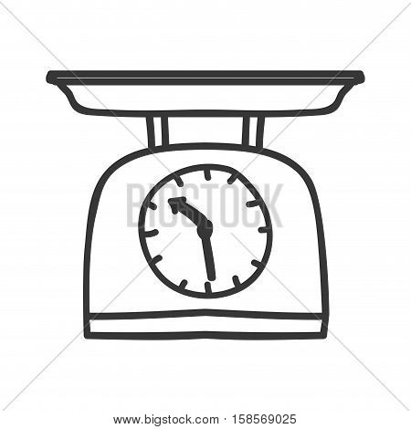 silhouette monochrome with kitchen weight scale vector illustration
