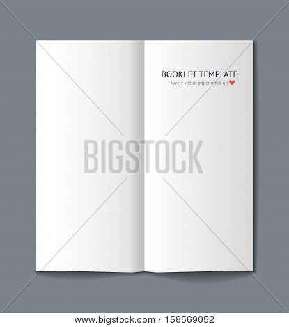 Blank booklet mock up with shadow isolated on dark gray background. Realistic vector template for booklet, keaflet, flyer, newspaper. Catalog template