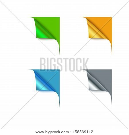 Paper different color corners and blank space for your text, vector illustration. Set of four curl corner.