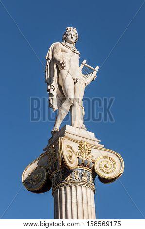 classical Apollo statue, athens, greece down town