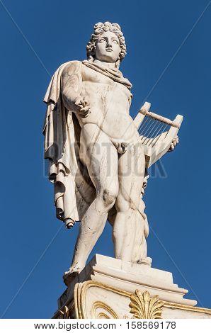 Classic Apollo marble statue, athens, greece down town