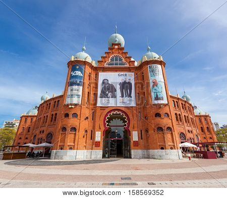 Lisbon; Portugal - October 19; 2016: Campo Pequeno Bullring Arena main entrance. Oldest and most iconic bullfight arena in Portugal. 19th century Moorish Revival style.