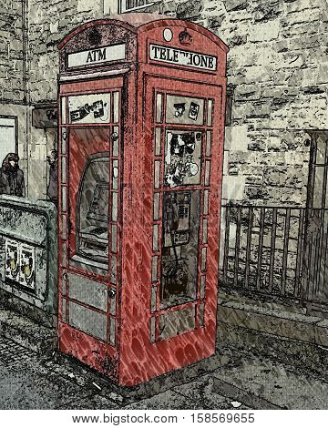 A photo of a red telephone box on the street. The impresionist style.
