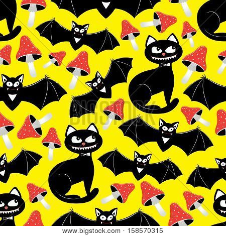 Vector seamless pattern with different funny objects: mushroom bat cat spider and web. Good for hallowing packing prints and textile production