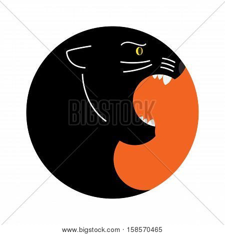 geometric logo of black Panther with open mouth in the circle shape. white background