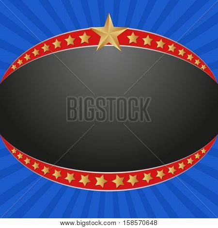 background with banner and golden stars - vector illustration