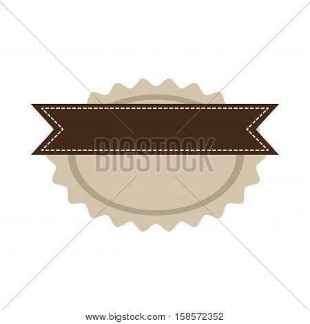 star oval shape seal stamp with brown label vector illustration