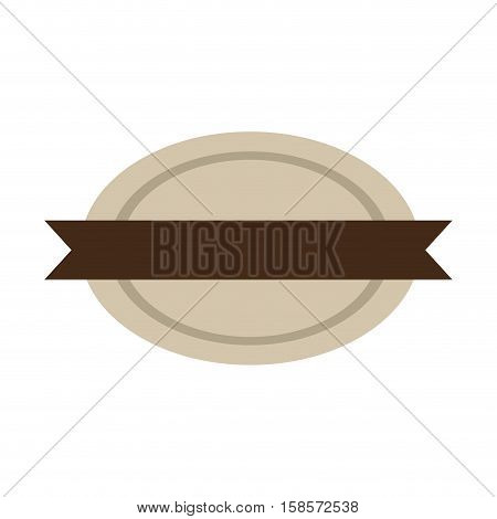 oval shape seal stamp with brown label vector illustration