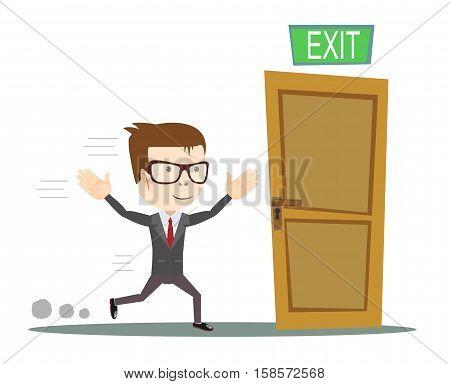 Exit. Businessman running to opened door. vector