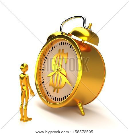 Golden alarm clock with dollar sign, figure and clipping path.