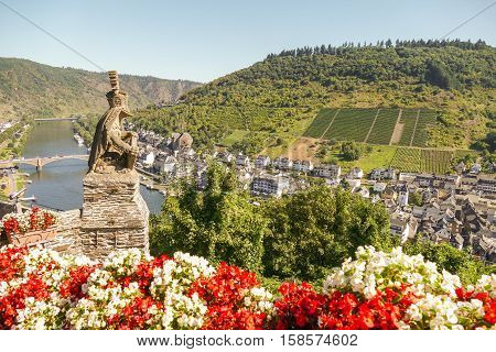 GERMANY - COCHEM - 23 AUGUST 2016: Above view from Reichsburg Cochem of Cochem in Germany.